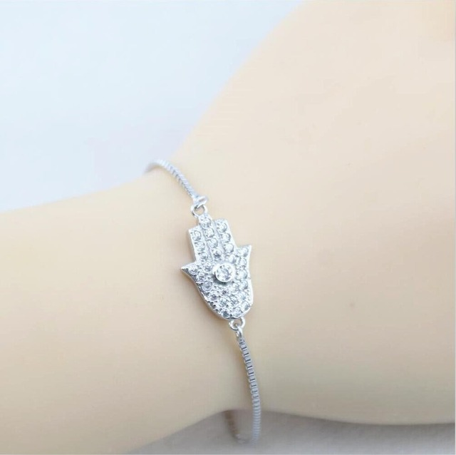 100 925 Sterling Silver Hamsa Bracelet Women And S Good Luck Bb0712