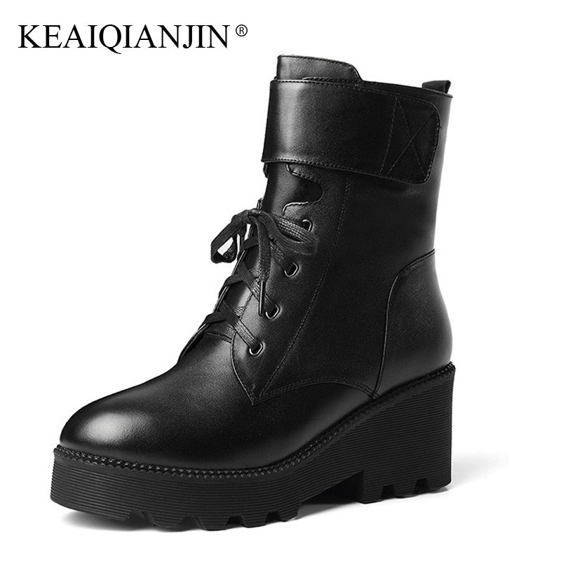 KEAIQIANJIN Woman Lace Up Gothic Shoes High Heels Winter Shearling Biker Boots Genuine Leather Wool Snow Martins Botas 2018