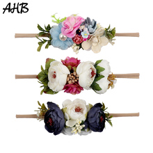 AHB High Quality Flower Crown Headband Pearl Floral Hair Bows with Nylon Elastic Bands for Girls Headwear Accessories