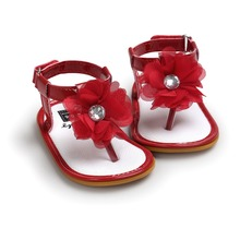 Free shipping summer red baby flower shoes baby girls sandals soft bottom infantil bebe toddler girl shoes sol for 0~18M TX40
