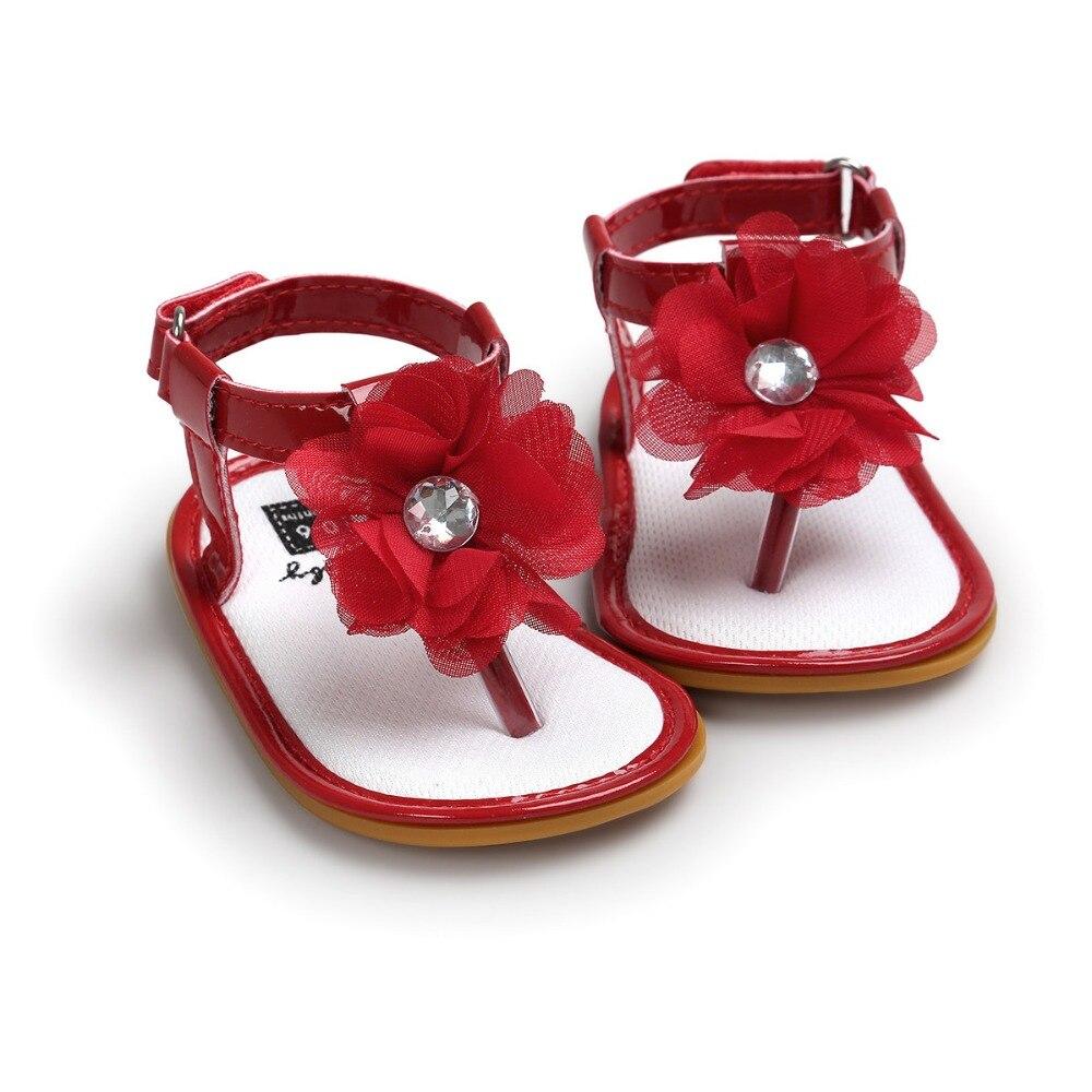 Summer Red Baby Flower Shoes Baby Girls Sandals Soft Bottom Infantil Bebe Toddler Girl Shoes Sol For 0~18M CX21A.
