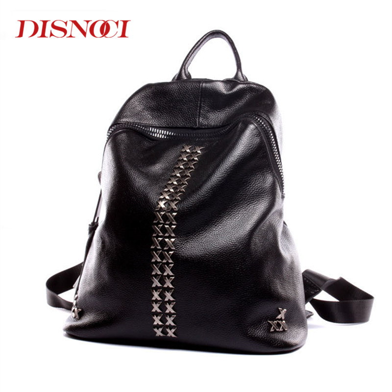DISNOCI Fashion Rivets Backpack Women Genuine Leather School Bag Casual College Schoolbag Teenager Girl Travel Shoulder Bag 2017 fashion women waterproof oxford backpack famous designers brand shoulder bag leisure backpack for teenager girl and college