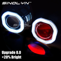 Sinolyn COB LED Angel Eyes de Halo HID Faros Lente Del Proyector del Coche Bi-xenon Kit de Actualización de Actualización Mini 2.5 ''8.0 H1 H4 H7 Diablo ojo