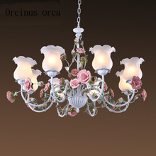 Romantic pastoral style rose chandelier iron flower lights  Mediterranean living room bedroom ceiling lamp Postage free