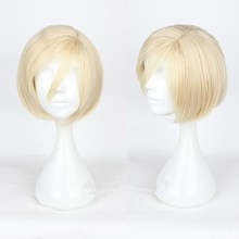 Japanese Anime YURI on ICE Yuri Plisetsky Yellow Wig Cosplay Short Hair Halloween