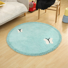 Cotton cartoon round mats Computer Chair carpet Bedside Coffee table rug washable butterfly pattern cute plush soft doormat