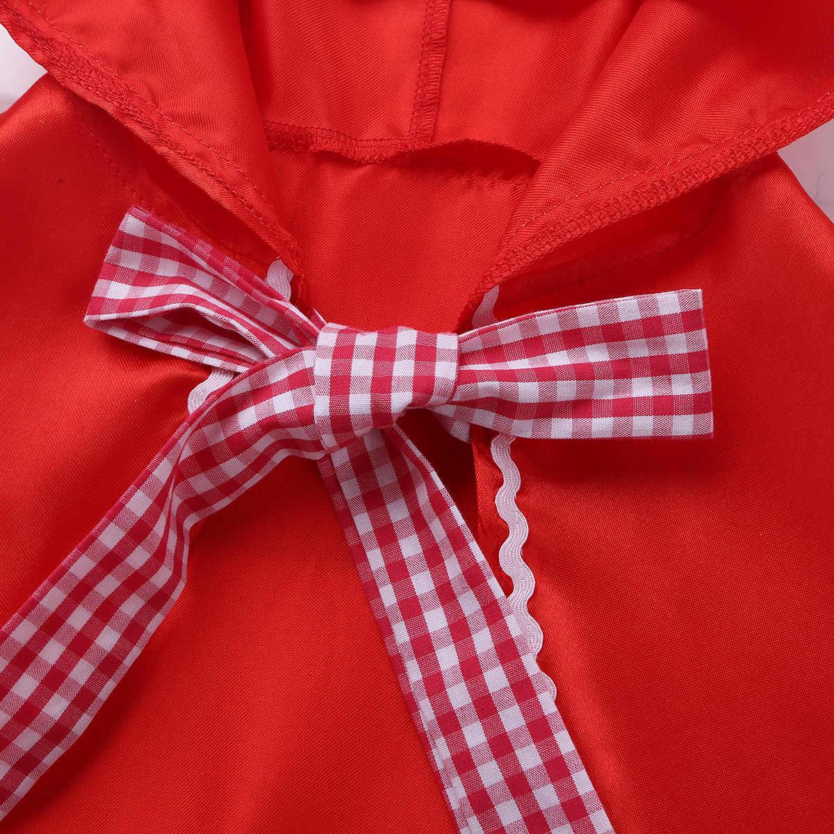 Little Red Riding Hood Kostum Cape Berdandan Halloween Jubah Cosplay Putri Jubah Coar untuk Balita Anak-anak Kecil Gadis Remaja