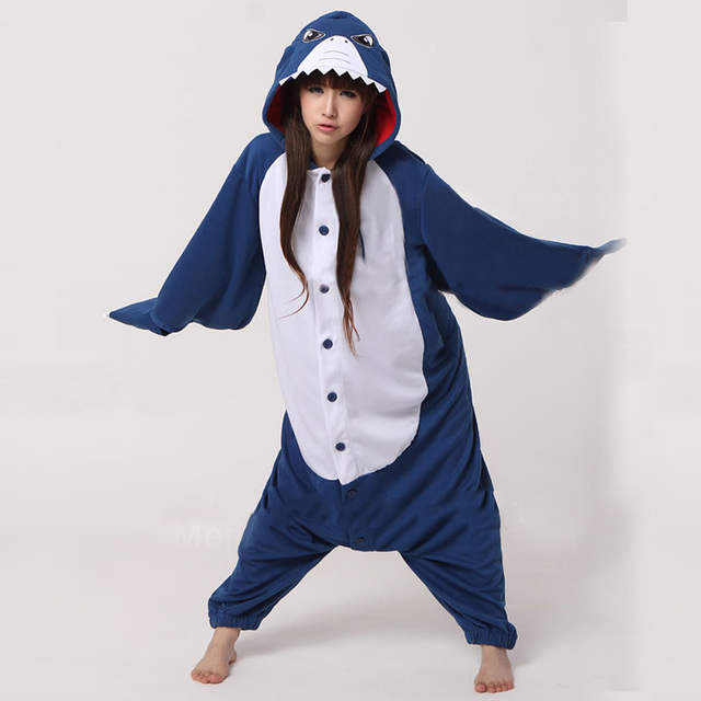 30f9e21ad Adults Flannel Shark Kigurumi Anime Cosplay Costumes Animal Onesies Pajamas  Halloween Party Cosplay Camouflage Party Jumpsuit