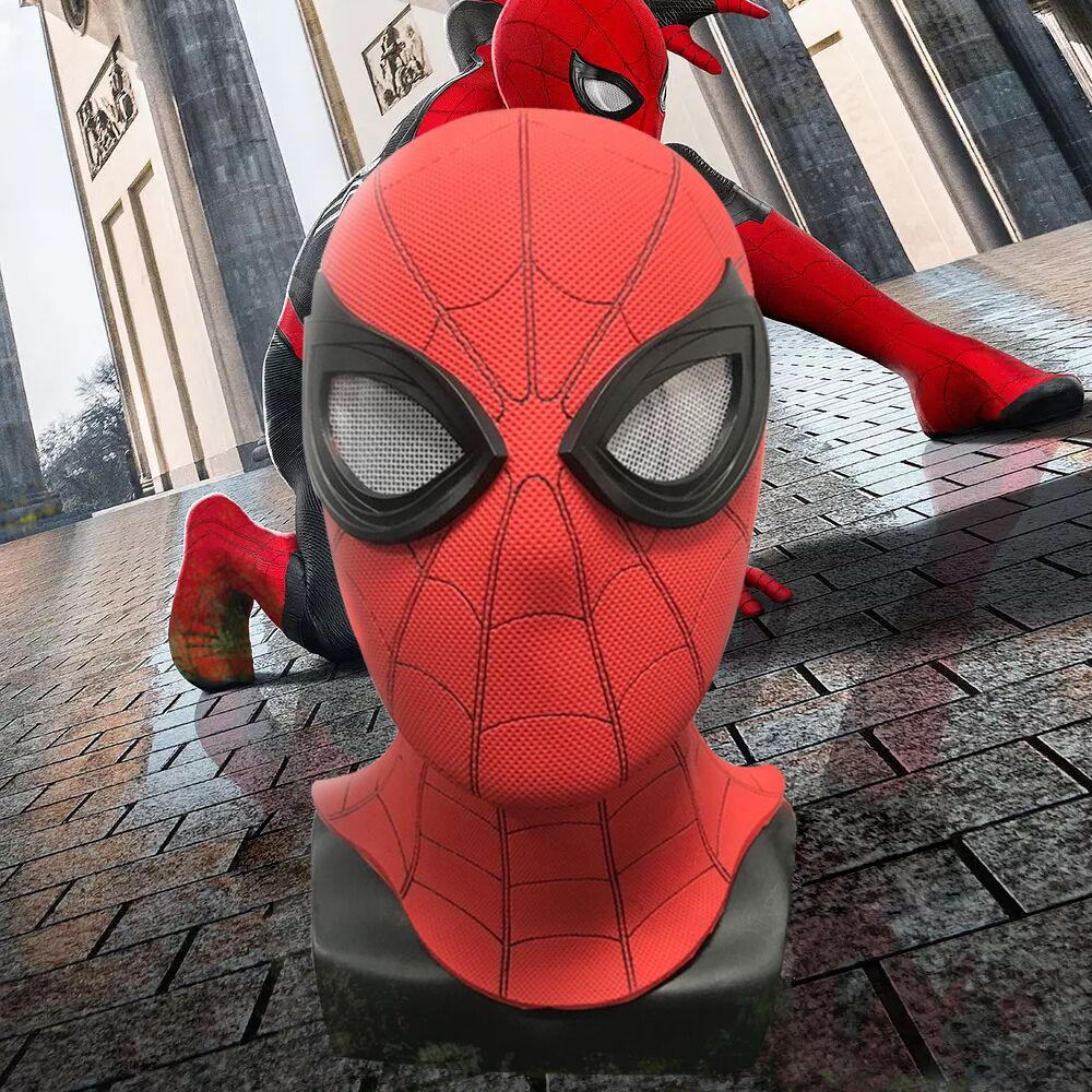 2019 Spider-Man Far From Home Breathable PVC Mask Cosplay Iron Spiderman Superhero Helmet Mask Headwear Full Face with 3D Eyes