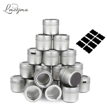 LMETJMA Magnetic Spice Tins Stainless Steel Jar Set With Stickers Pepper Shakers Salt Seasoning Sprays  KC0017