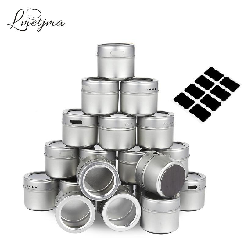 LMETJMA Magnetic Spice Tins Stainless Steel Spice Jar Set With Stickers Pepper Shakers Salt Pepper Set Seasoning Sprays KC0017