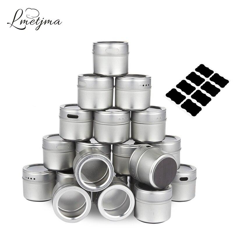 LMETJMA Magnetic Spice Tins de acero inoxidable Spice Jar Set con pegatinas pimentero salero Sprays de condimentos KC0017