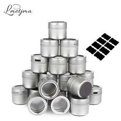 Lmetjma magnético especiaria latas de aço inoxidável conjunto frasco de especiarias com adesivos pimentões conjunto de pimenta salina sprays tempero kc0017