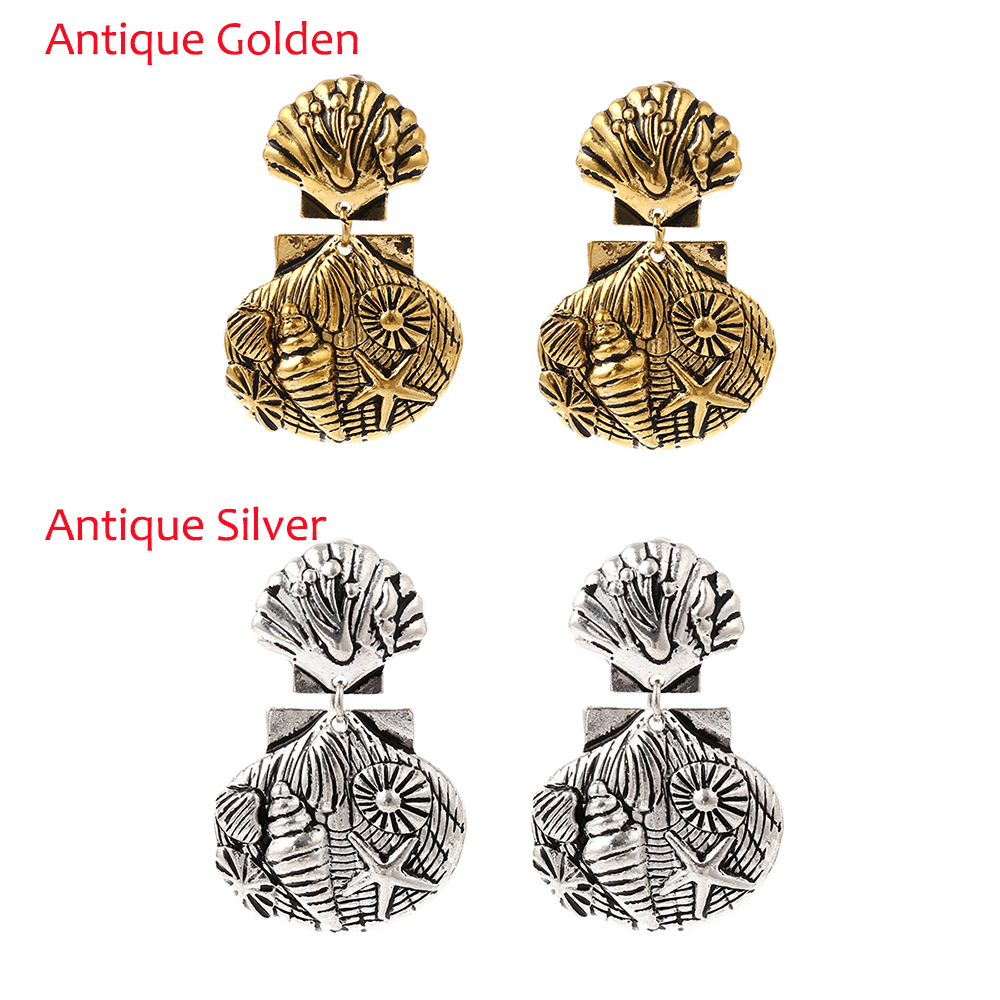 Ingesight.Z Vintage Ethnic Carved Metal Antique Golden Silver Shell Shape Double Dangle Hook Drop Earrings for Women Eardrop