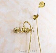 Недавно Роскошные Ванной Кран Ванной Душ Кран Золотой Полированный Двойной Ручки Смесителем W/Керамика Ручной Душ Настенное Крепление