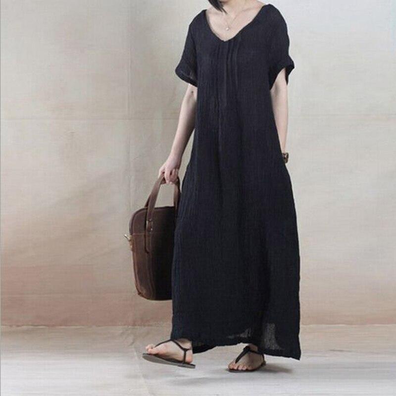Causal Black Linen Dress Vestidos Loose Sundress Black Art Summer Robe Women gray 2016 Vintage Dresses Long Maxi wEIzqP8x