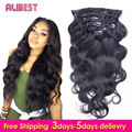 Clip in Human Hair Extensions Body Wave Malaysian Virgin Hair Extensions Clips Ins 7pcs/set for Whole Head Free Ship Body Wave