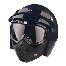 Casco de Motocicleta de La vendimia Moto Gafas Máscara Hombres 3/4 Open Face Retro Mujeres Moto scooter Cascos Casco de La Motocicleta Para Harley