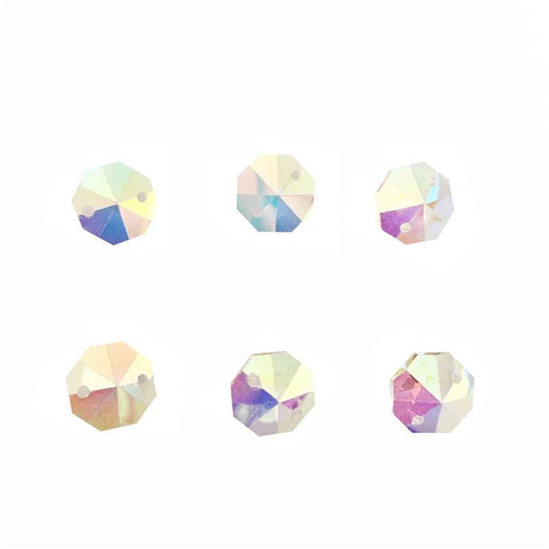 Free Shipping 2000pcs Lot Ab Color 14mm Crystal Octagon Beads In 2 Holes For Home Decoration