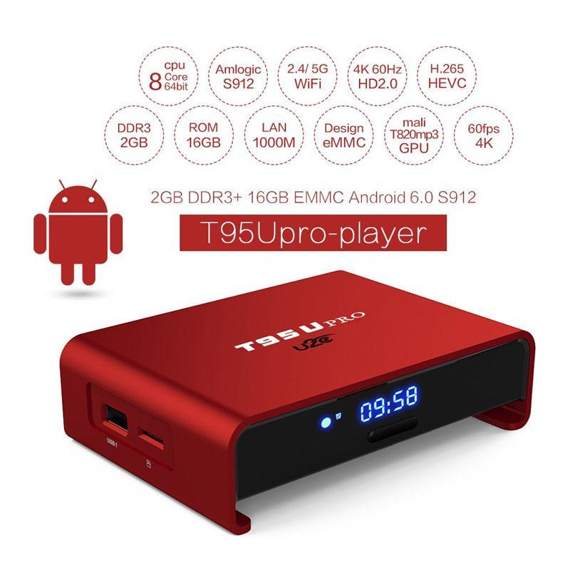 T95U PRO Android 6.0 TV Box S912 Octa Core 2 GB + 16 GB WiFi Ultra HD 4 K Medios