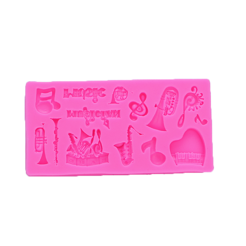 Halloween 3D Musical instruments Shape Fondant cake silicone mould Kitchen for Gum paste ...