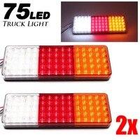 2pcs 12 24V 75 LEDs Truck Light Rear Tail Warning Lights Rear Lamps Waterproof Tailight Parts for Trailer Caravans DC 12V 24V