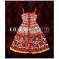 2017 Летний Новый Мода Взлетно-Посадочной Полосы Dress женская Спагетти Ремень Милый Очаровательный Цветок Цветочный Принт Crystal Button Dress vestidos