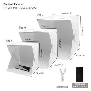 Image 4 - 40 سنتيمتر المحمولة للطي صندوق الضوء التصوير استوديو سوفت بوكس مصباح ليد لينة صندوق مجموعة أدوات الخيمة للهاتف DSLR كاميرا صور خلفية