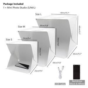 Image 4 - 40Cm Gấp Di Động Lightbox Chụp Ảnh Studio Softbox Đèn LED Hộp Mềm Lều Bộ Cho Điện Thoại Máy Ảnh DSLR Hình Nền