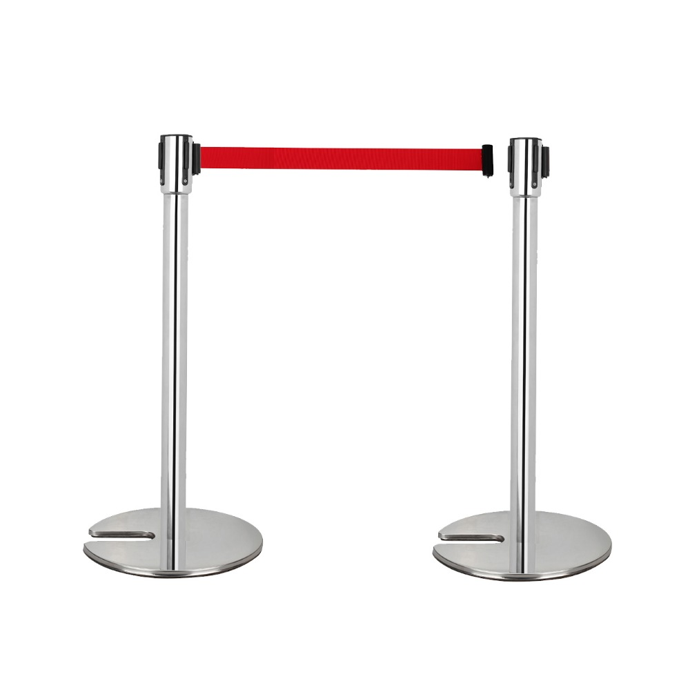 2x Durable Retractable Belt Stretch Stanchions Crowd Control Barrier Iron Base low price for 2 pcs hotel 3m retractable belt vip crowdcontrol retractable tensa barriers queue way post