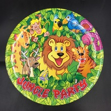 10pcs 7inch diameter 18cm Jungle King lion Paper Plates for Kids Birthday Party Decoration Supplies
