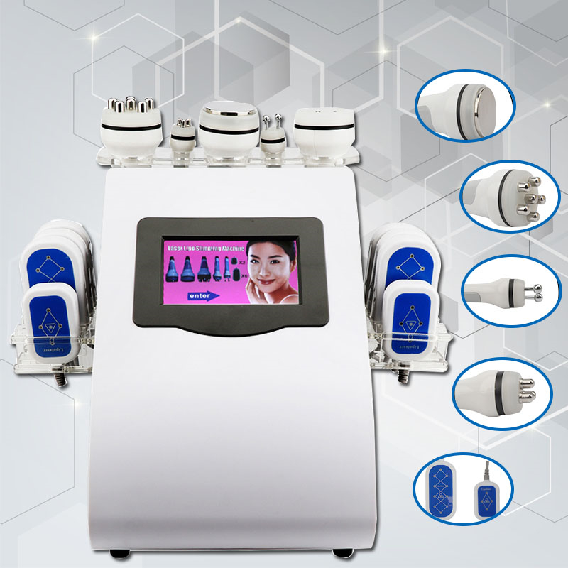 New 6 In1 Cavitation Weight Loss Vacuum Bipolar RF Diode Lipo Laser Slimming Machine Skin Beauty Care Device