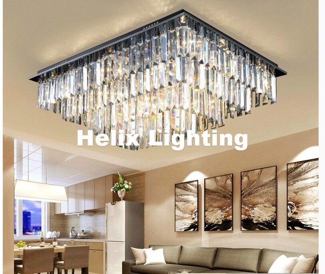 Free Shipping Modern Led Crystal Ceiling Light Fixture Smokey Clear