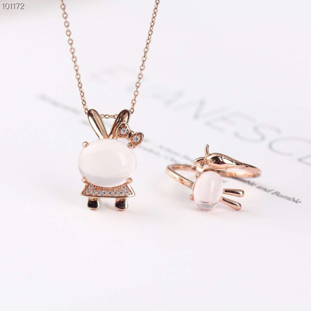 gemstone jewelry factory wholesale trendy 925 sterling silver natural pink crystal ring pendant necklace set