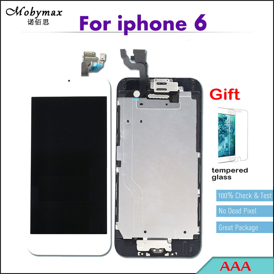 Mobymax Full Assembly LCD Screen For Apple iPhone 6 A1549 A1586 A1589 Replacemen Digitizer Display+Home Button+Front Camera ...