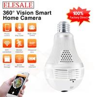 3MP 360 Degree Wireless IP Camera Bulb Light FishEye Smart Home CCTV 3D VR Camera Home