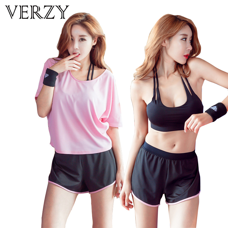 2017 Sport Suit Women Yoga Set Quick Dry Fitness Clothing Sport Bra Top+Workout Shorts+Blouse Gym Shirt Cropped Trousers 3 Piece cropped wide sleeve top