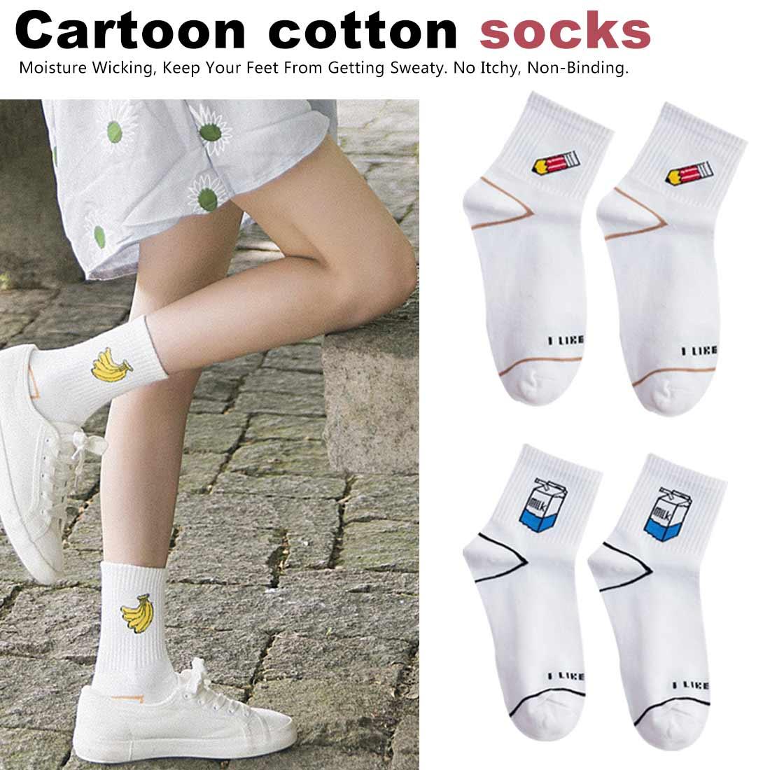 Women 39 s Kawaii Milk Banana Pencil Cartoon Socks Novelty Illustration Letter White Cute Harajuku Cotton Sock in Socks from Underwear amp Sleepwears