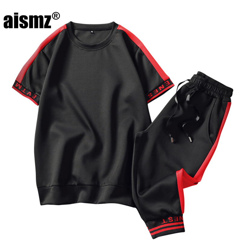 Aismz Tracksuit Casual Round neck Male Half sleeve 2 Pieces Tracksuit Set 2018 New Summer M-3XL Mens Sportswear