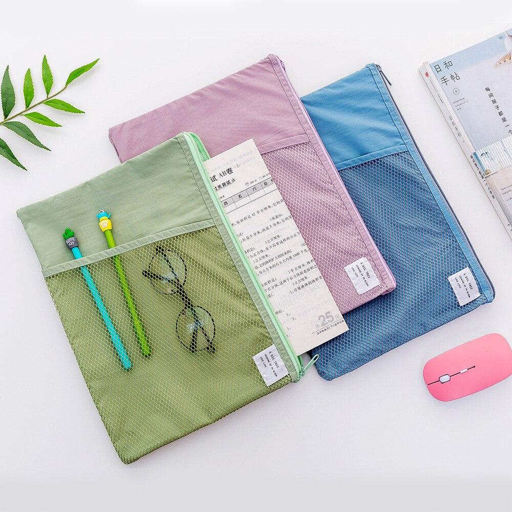 Multi-fonction A4 grille dossier dossier tissu documents sacs titulaire stockage pour papier facture papeterie paquet poche école bureau