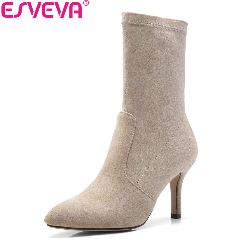 ESVEVA 2019 Women Boots Thin Heels Mid-calf Boots Spring Autumn Shoes Sexy Pointed Toe Slip on High Heels Boots Woman Size 34-43 mary yanxi new fashion high heels women boots lace up pointed toe shoes mid calf worm boots thin heels elegant shoes big size43