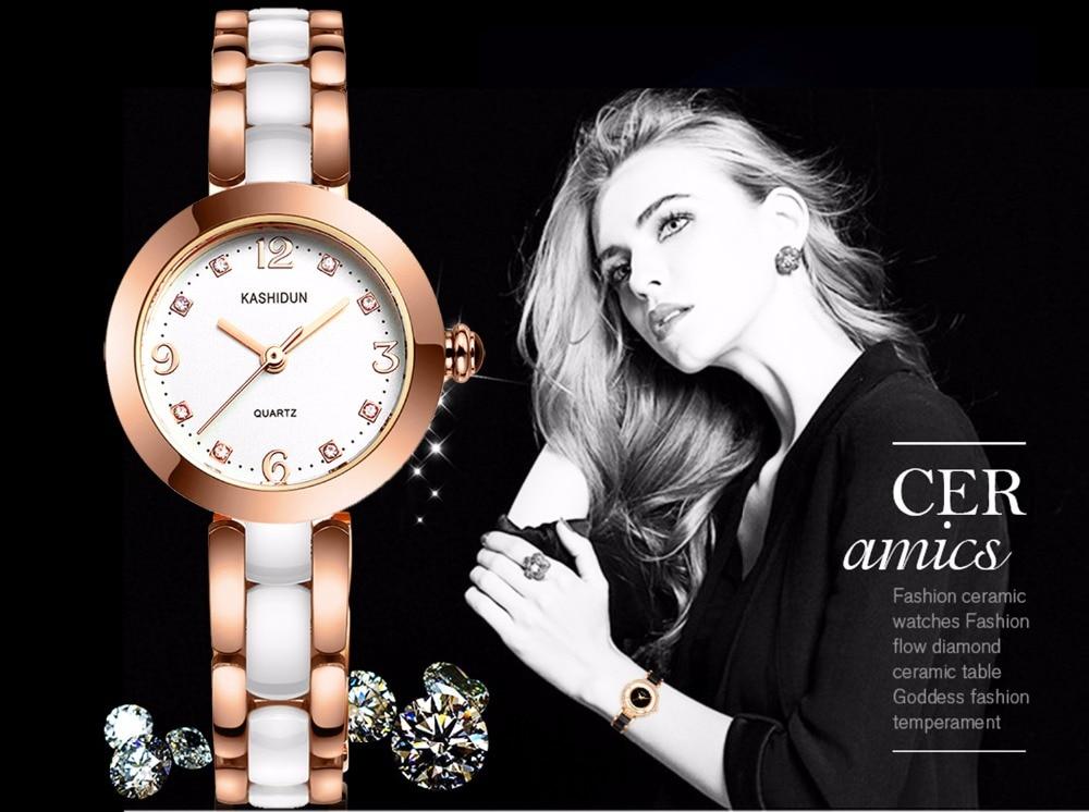 KASHIDUN. Women's Watch Luxury Casual Fashion Dress Wrist Watches High-tech White Ceramic Steel Gold Bracelet Relogio Feminino high tech and fashion electric product shell plastic mold