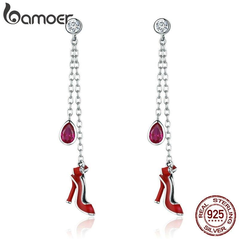 BAMOER alta calidad 100% plata esterlina 925 Sexy zapatos de tacón rojo largo pendientes de gota para las mujeres joyería de plata esterlina SCE406