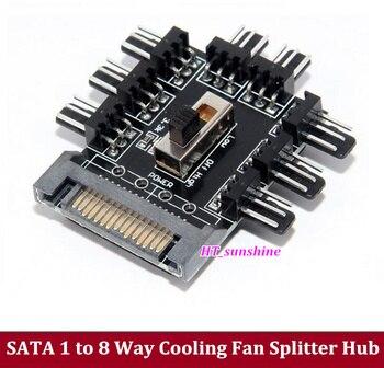 15PCS/LOT PC Computer SATA 1 to 8 Multi Way Splitter Cooling Fan Hub 3pin 12V Power Socket PCB Adapter 2 Level Speed Controller
