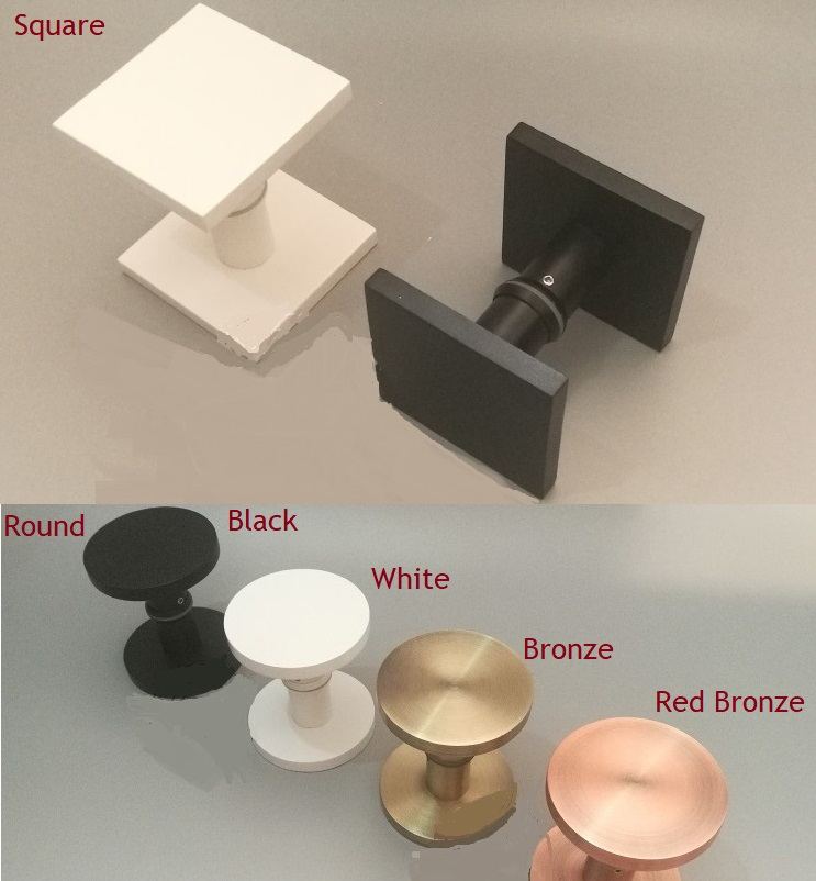 Solid Aluminum Square Round Double Side Modern Glass Door Pull Shower Box Handle Commercial Entrance White Black Bronze Solid Aluminum Square Round Double Side Modern Glass Door Pull Shower Box Handle Commercial Entrance White Black Bronze