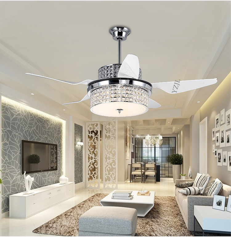 Modern Crystal Ceiling Fan Lights Restaurant Household Electric LED With Remote Control Living
