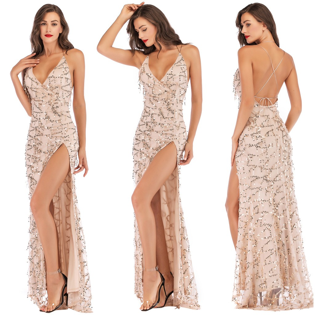 vestido de mujer Sexy Women V Neck Maxi Sequin Halter Backless Split Cocktail Prom Gown Dress
