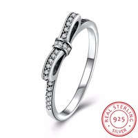 INALIS 925 Sterling Silver Rings Sparkling Bow Micro Pave Cubic Zirconia Ring For Women Wedding Jewelry