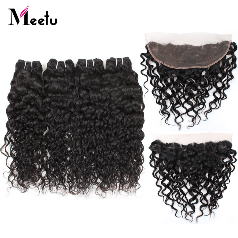 Meetu Brazilian Water Wave Bundles with Frontal Non Remy 100 Human Hair Bundles with Lace Frontal