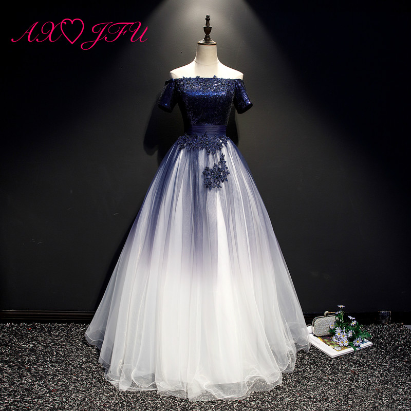 AXJFU princess navy blue lace evening dress vintage boat neck beading crystal flower white and blue